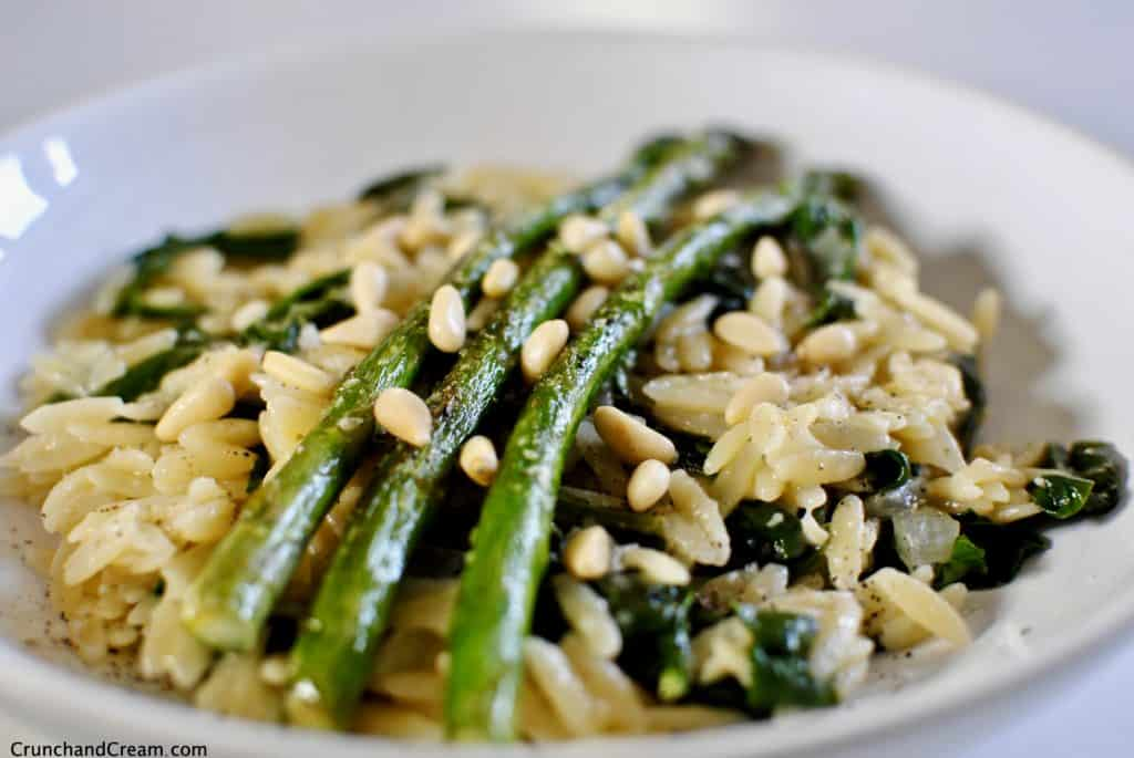 asparagus, lemon & spinach orzo risotto