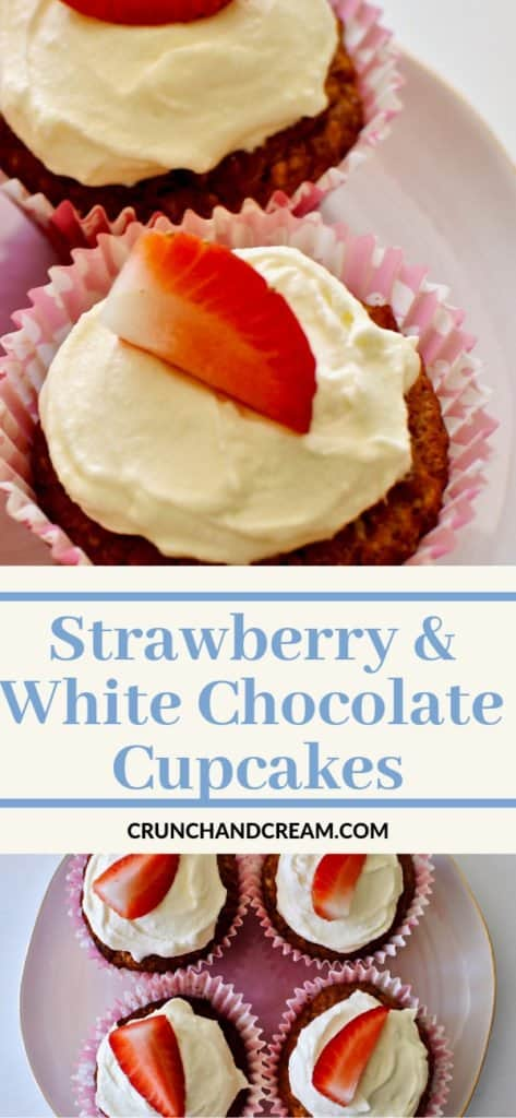 Moist and crumbly cupcakes full of white chocolate pieces and freeze-dried strawberry powder, filled with strawberry jam and topped with white chocolate cream cheese frosting. They're easy and full of fruity Spring flavours.