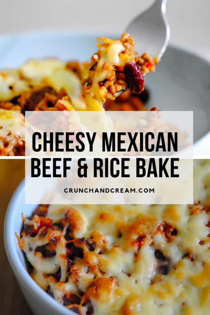 This cheesy Mexican rice bake is deliciously spicy. With rice, ground beef, chilli peppers and kidney beans baked in a spicy tomato sauce and topped with melty cheese, it really is a perfect comforting dinner!