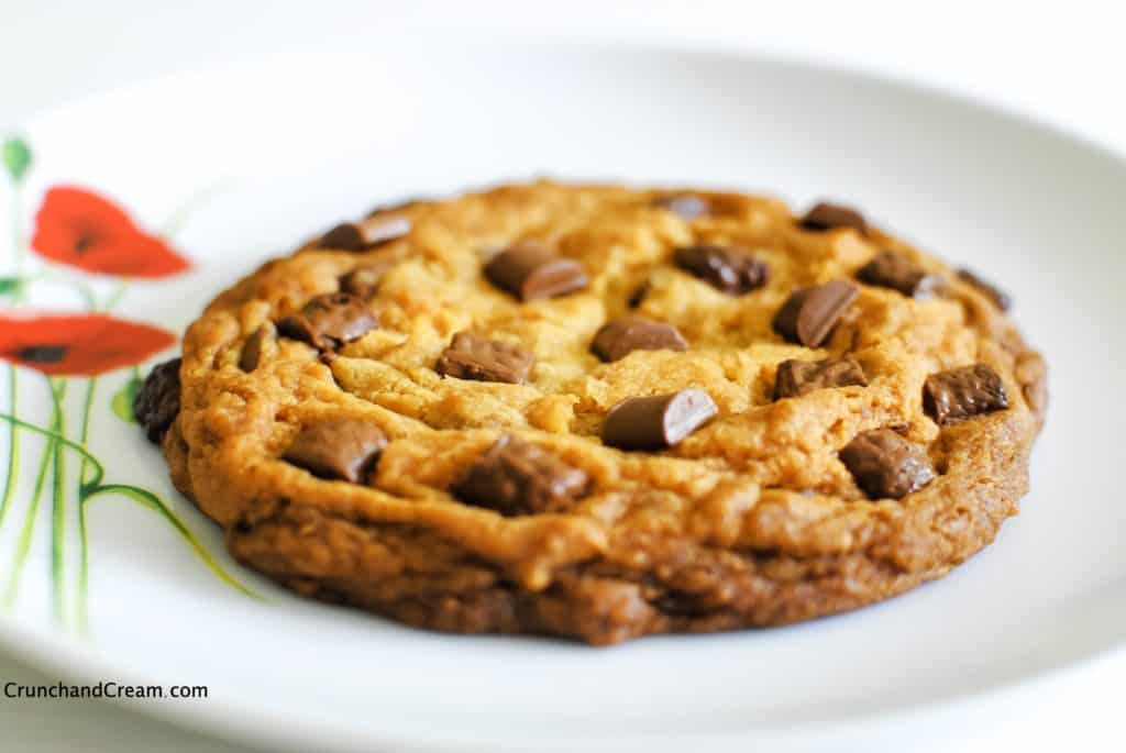 single-serving chocolate chip cookie on a plate