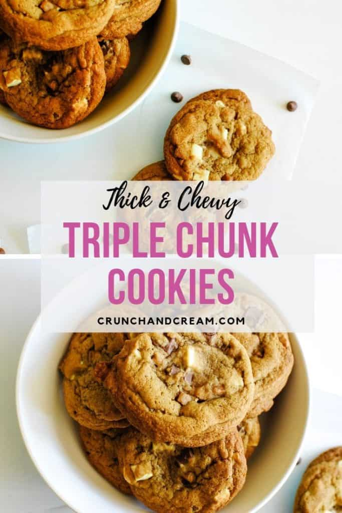 These thick and chewy triple chunk cookies are the perfect sweet treat! Packed full of milk and white chocolate chunks plus fudge chunks, they're absolutely irresistible!