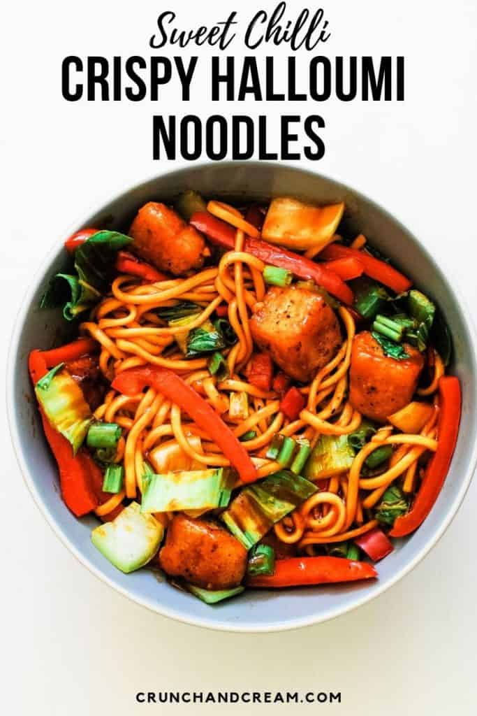 crispy sweet chilli halloumi noodles - This quick and easy one-pan stir fry is a perfect vegetarian dinner. It takes 15 minutes and has plenty of veg, sweet chilli sauce and noodles! Plus, the halloumi is perfectly crispy with no deep-frying necessary!