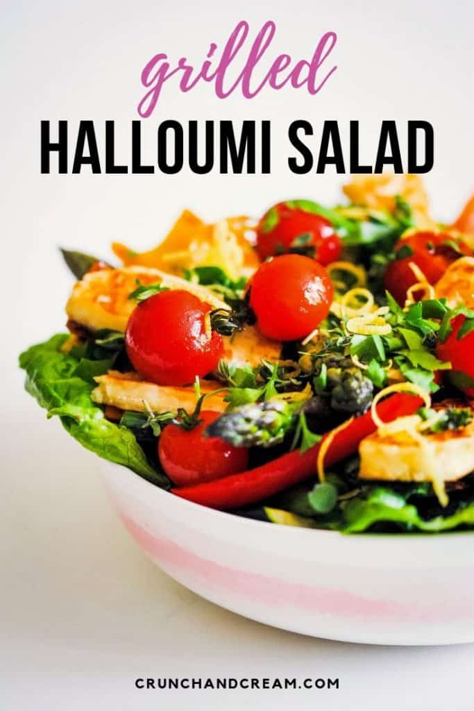 A quick and easy summer salad with plenty of veggies, this is the perfect lunch for two! Or, serve it with rice or pasta for a light and healthy dinner - it's versatile, delicious and will be your new go-to salad. #grilledhalloumisalad #halloumisalad #grilledhalloumi