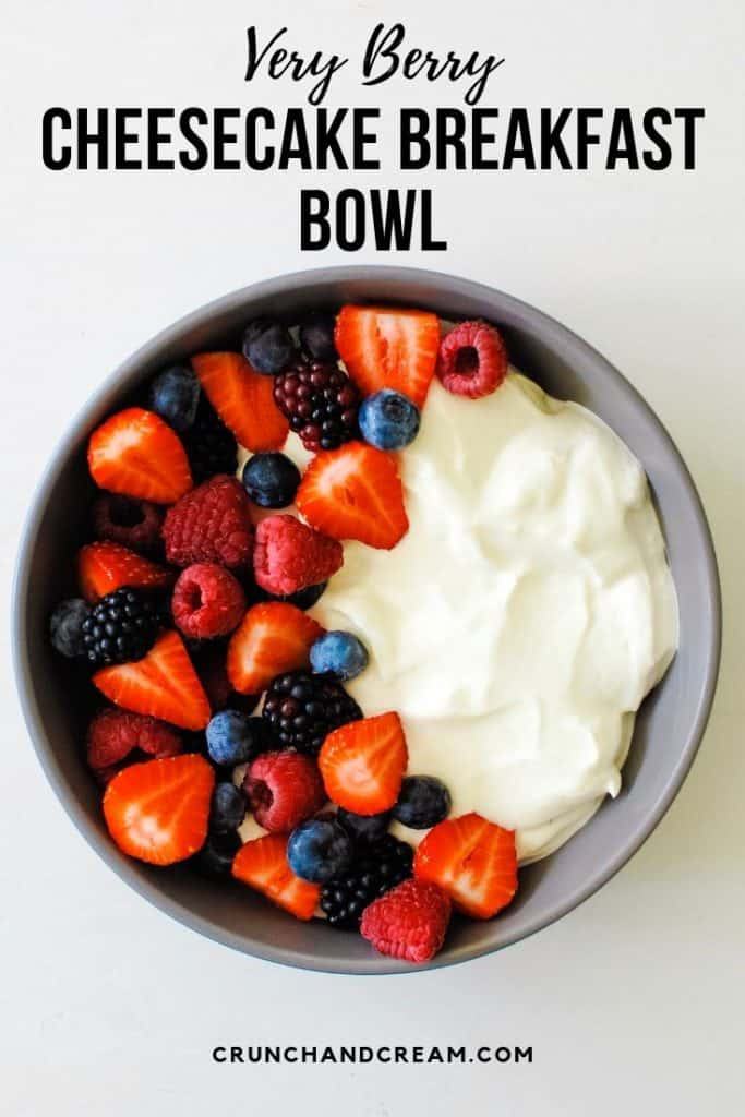 This berry cheesecake bowl is a delicious, filling and healthy breakfast that can satisfy any sweet cravings! You can make it in advance, too - and it's so easy!.Just add all the cheesecake ingredients to a bowl and mix them together! Serve it with plenty of fresh berries and lemon zest for a sweet yet healthy way to start your day! #berrybreakfastbowl #yogurtbreakfastbowl #cheesecakebowl #breakfastcheesecake #summerberrycheesecake
