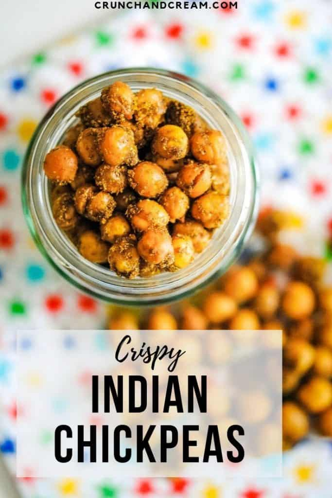 Crispy Indian chickpeas are a simple and healthy snack. #indianchickpeasrecipes #spicyroastedchickpeas #veganroastedchickpeas #ovenroastedchickpeas #crunchyroastedchickpeas