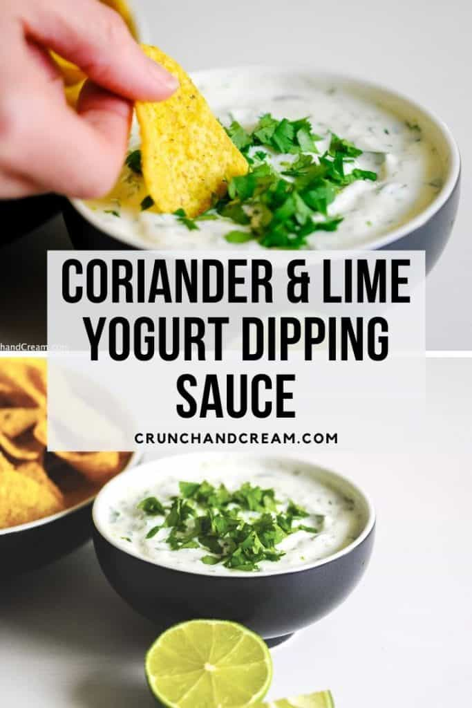 This coriander lime yogurt dipping sauce is perfect with tortilla chips, spicy chicken or even just raw veggie sticks. It's quick, cheap, easy, simple and full of flavour! It works best as a Mexican dip or Indian dip.