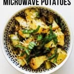 These cheesy microwave potatoes with garlic and herbs are one of my favourite side dishes! They take just minutes to make with minimal prep, yet they always turn out delicious!