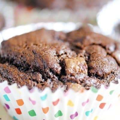 close-up of a chocolate brownie cupcake