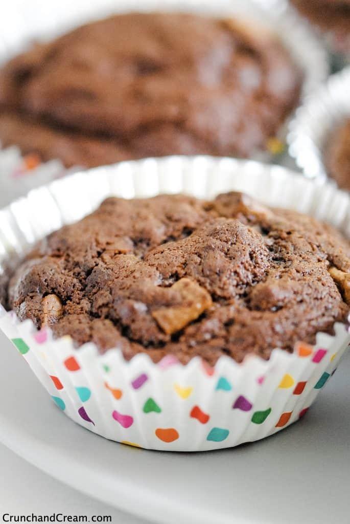 close-up of a chocolate brownie cupcake