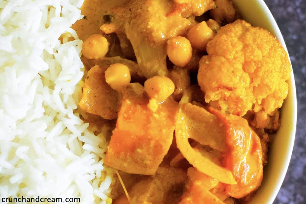 close-up of chickpea vegetable curry