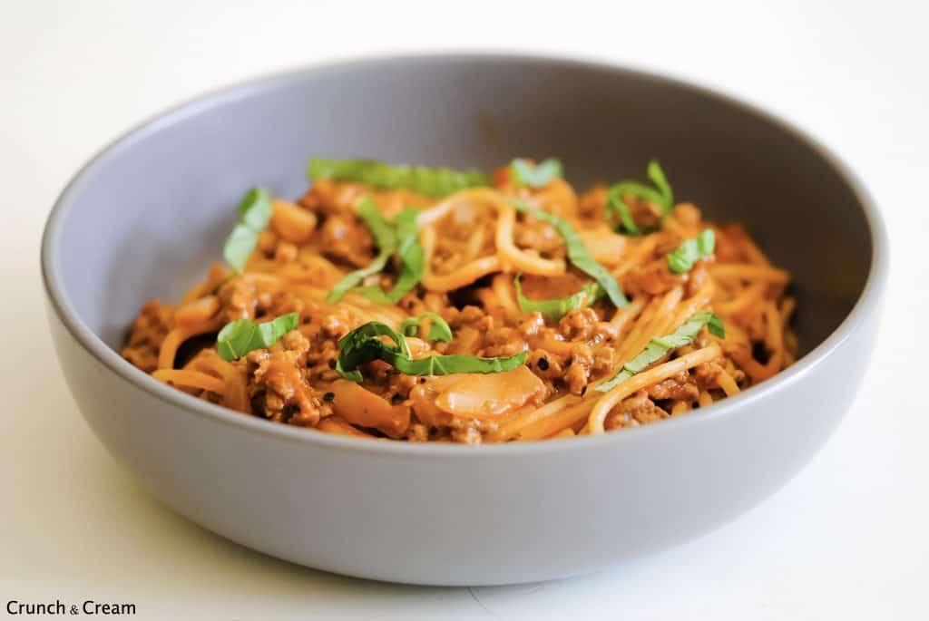 bowl of spaghetti bolognese