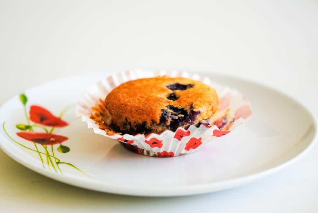 blueberry cupcake on a plate